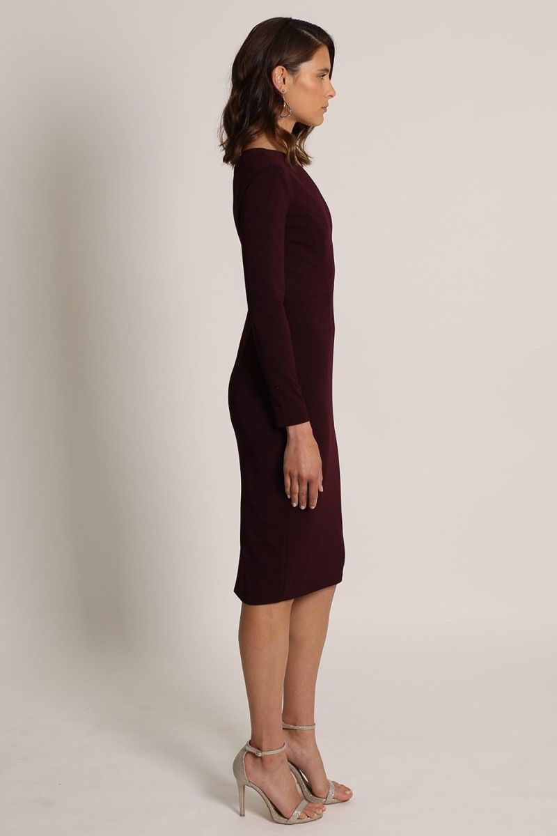 LYLA ONE SHOULDER DRESS-romance the label-side-burgundy