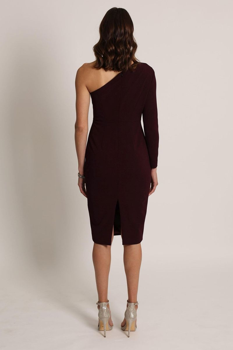 LYLA ONE SHOULDER DRESS-romance the label-back-burgundy