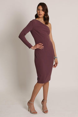 LYLA ONE SHOULDER DRESS-romance the label-front