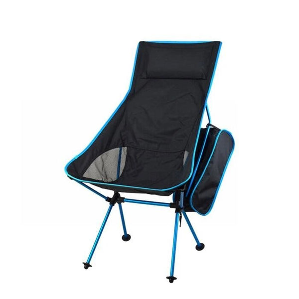 Portable Folding Camping Chair With Comfortable Pouch (Blue)