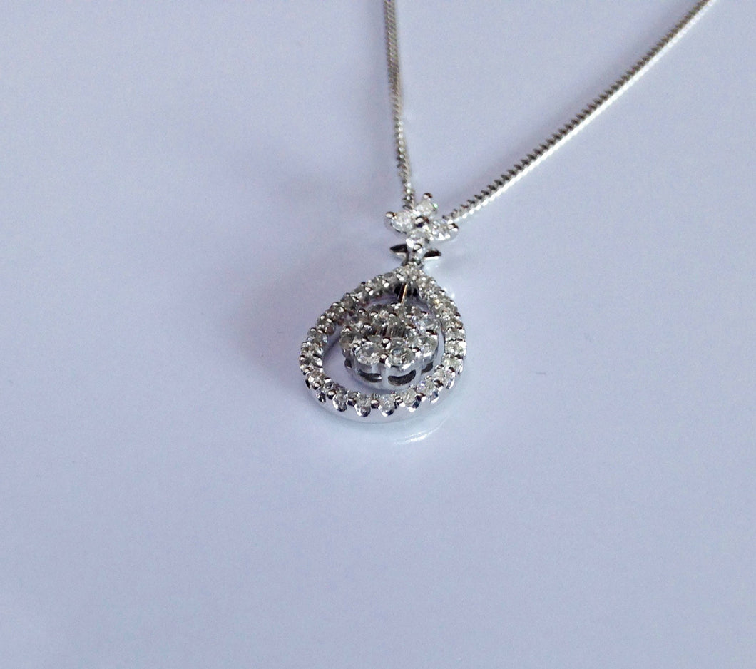 18ct white Gold Diamond (total .42) Pendant - agiftireland