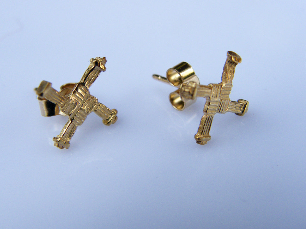 9ct Gold St Bridges Cross Celtic Earrings - agiftireland