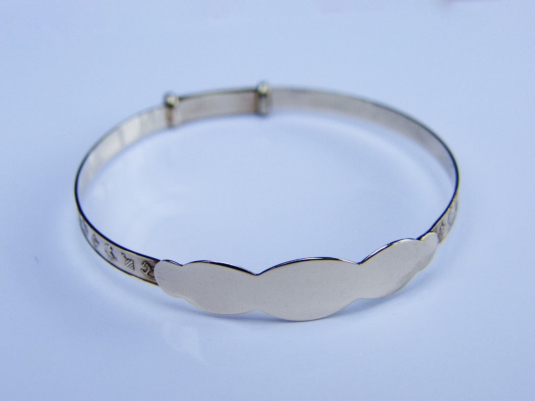 9ct Gold Baby adjustable I.D. Bangle - agiftireland