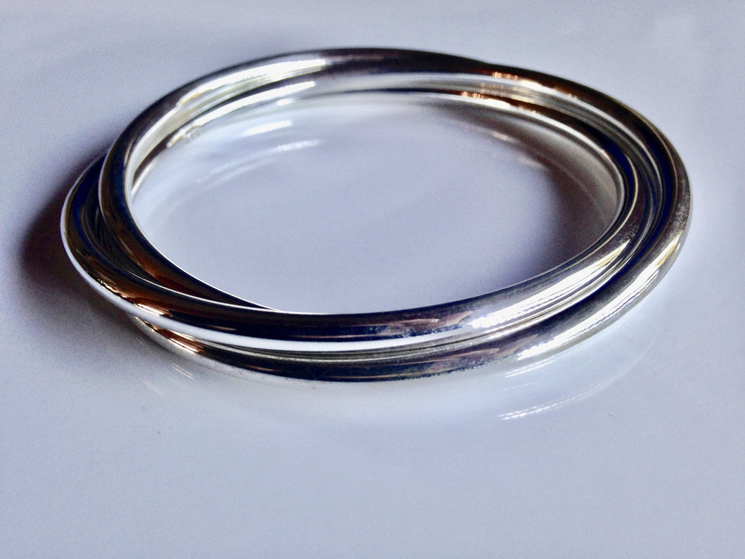 Sterling Silver hollow 3x ring Bangle - agiftireland