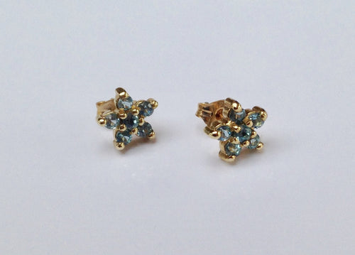 9ct  Gold Blue Topaz star Earrings - agiftireland
