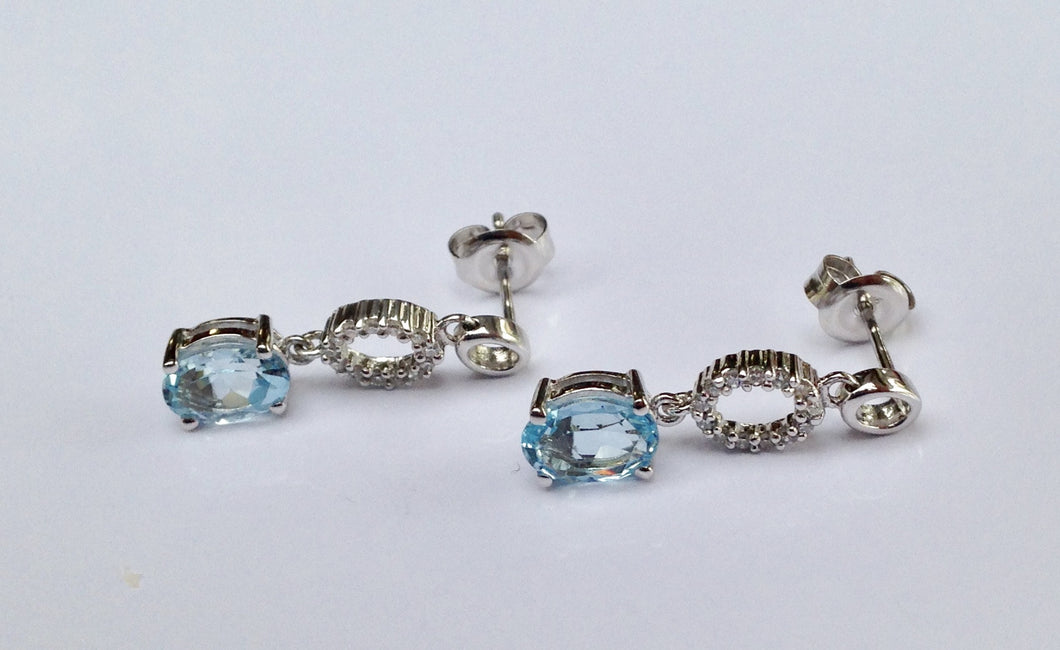 9ct white Gold Blue Topaz & Diamond Earrings - agiftireland