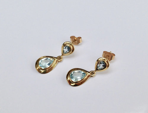 9ct  Gold Blue Topaz drop Earrings - agiftireland