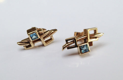 9ct  Gold Blue Topaz Rennie Mackintosh Earrings - agiftireland