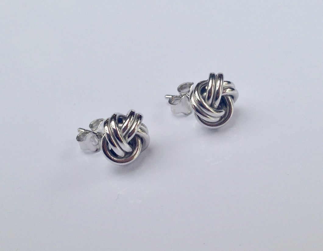 9ct white Gold Knot Earrings - agiftireland