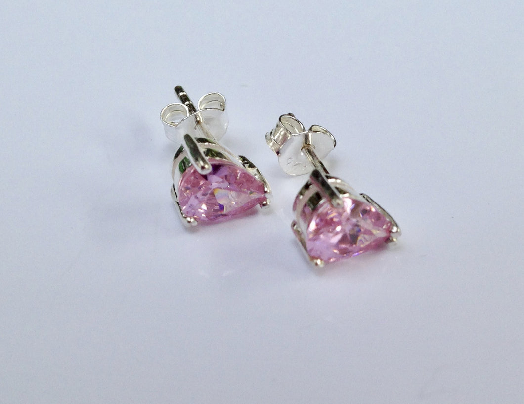 Sterling Silver pink stone set Earrings - agiftireland