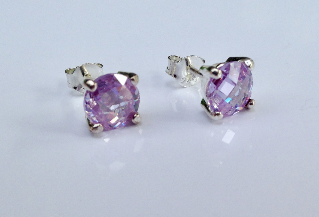 Sterling Silver stone set purple Earrings - agiftireland
