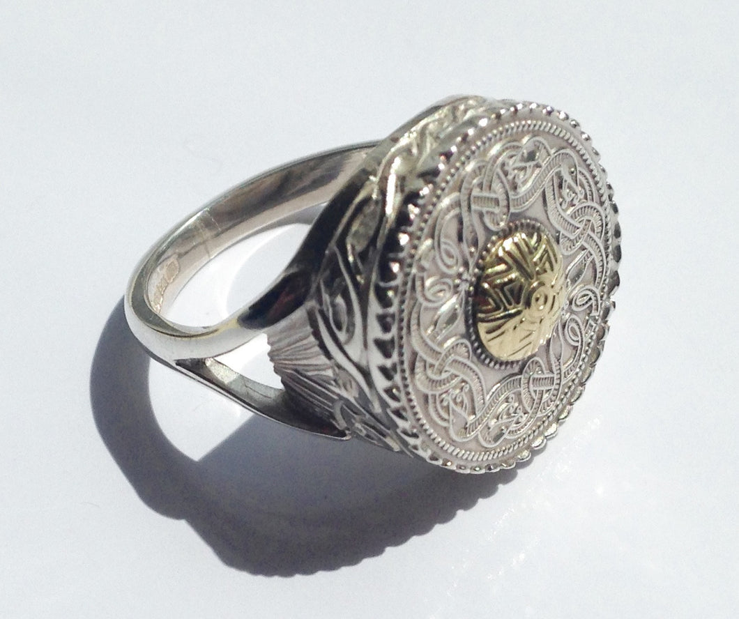 Sterling Silver Celtic Shield Ring - agiftireland