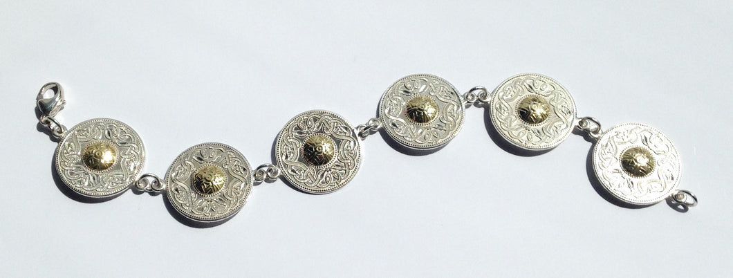 Sterling Silver Large Celtic Shield Bracelet - agiftireland