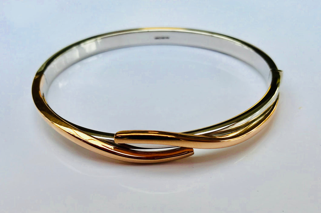 9ct Rose and White Gold Bangle - agiftireland