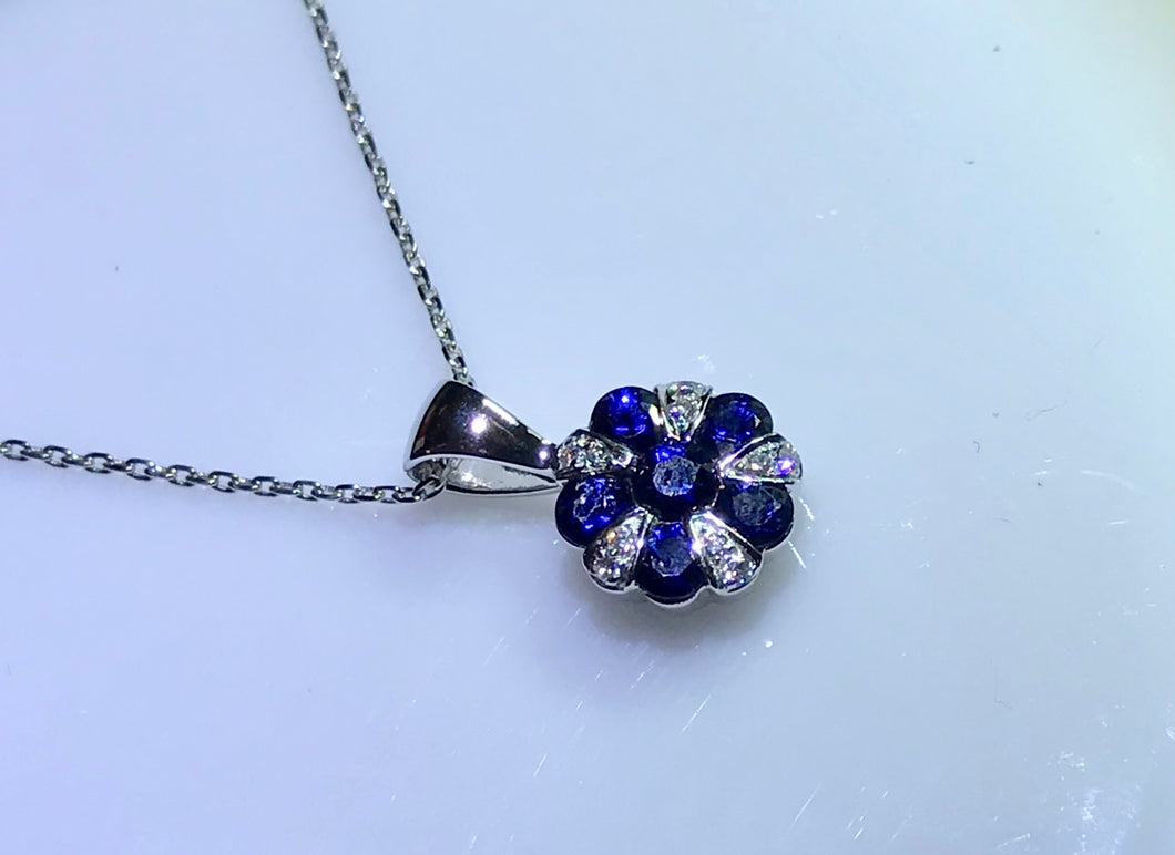 9ct White Gold Sapphire and Diamond Pendant and Chain - agiftireland