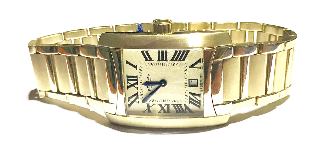 Rotary Gents Gold plated bracelet Quartz watch - agiftireland