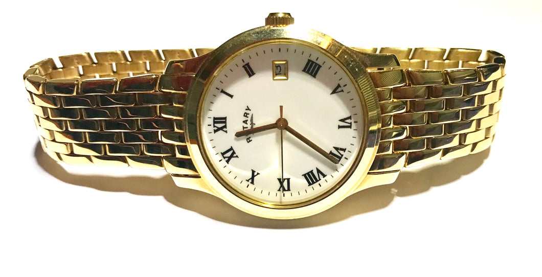 Rotary Gents gold plated quartz bracelet watch - agiftireland