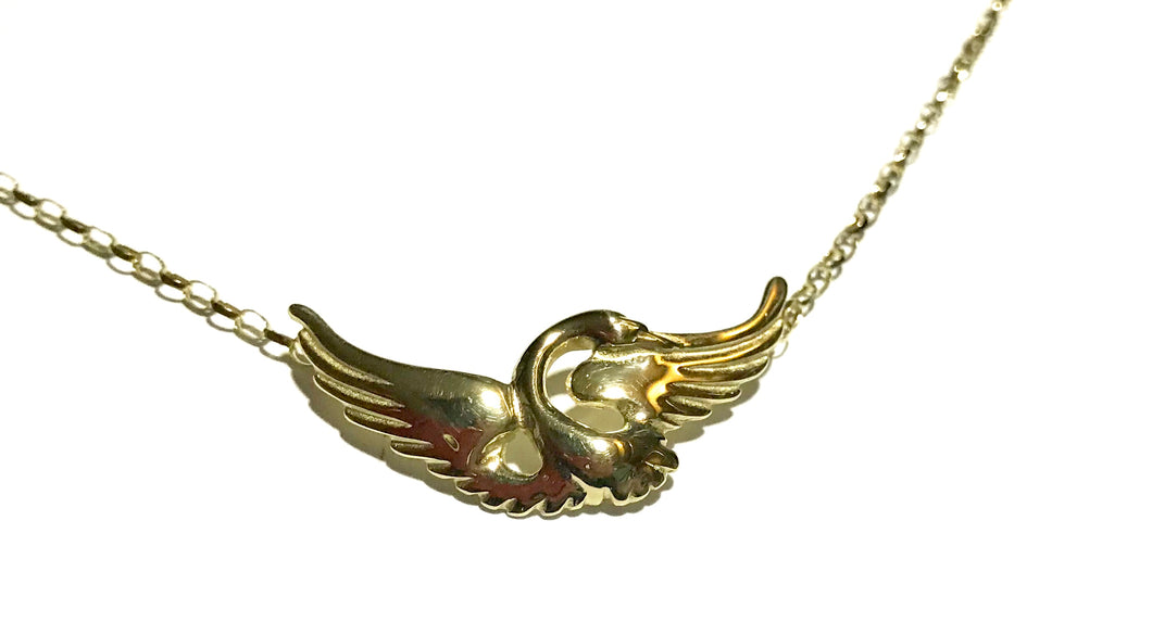9ct Gold Children of Lir open Swan Pendant and Chain - agiftireland