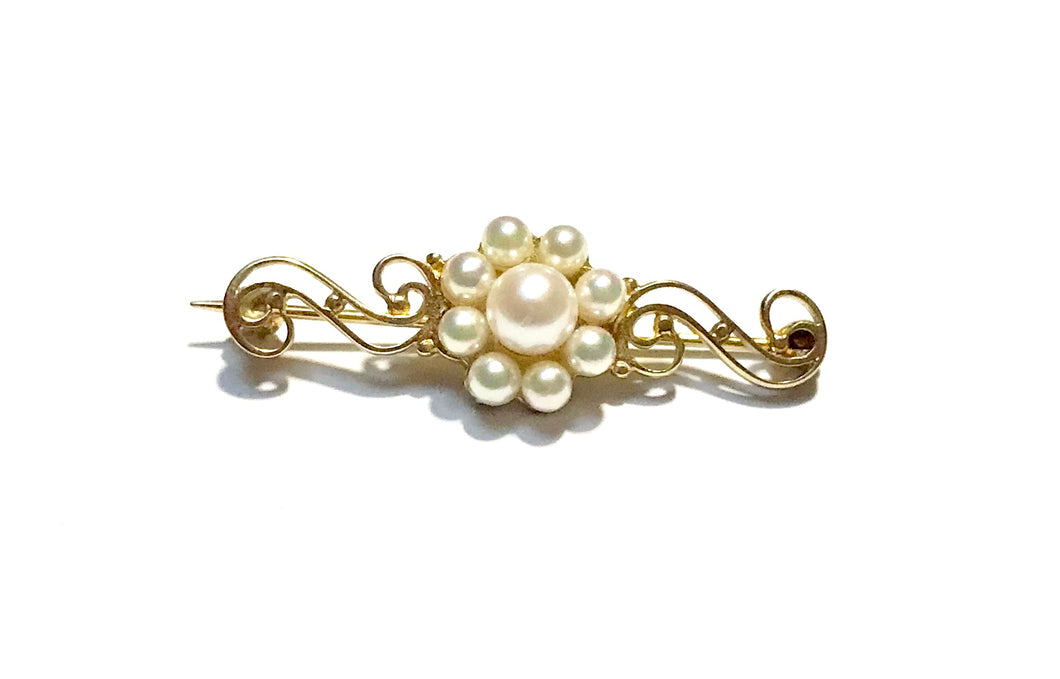 9ct Gold Culture Pearls Cluster Brooch - agiftireland