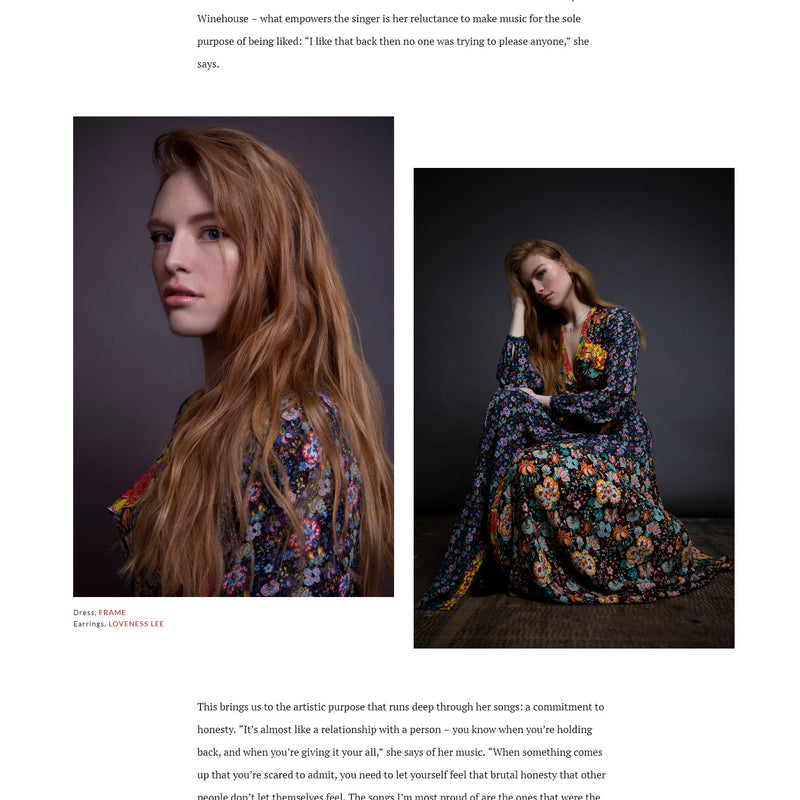 Freya Ridings wearing Exocoetidae in Phoneix Magazine