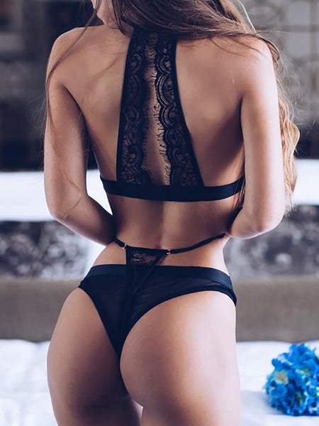 Alluring See Through Lace Patchwork Halter Lingerie - girlyrose.com