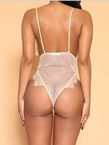 white Seductive Lace Semi-sheer Lingerie Romper