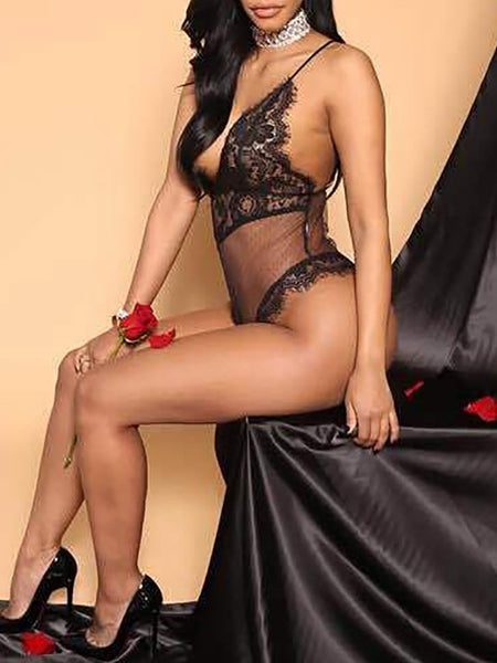 Seductive Lace Semi-sheer Lingerie Romper - girlyrose.com