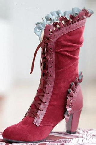 Ruffles Lace Up High Heels Mid-Calf Boots - girlyrose.com