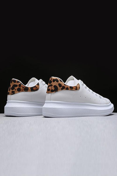 Leopard Platform Lace Up Sneakers - girlyrose.com