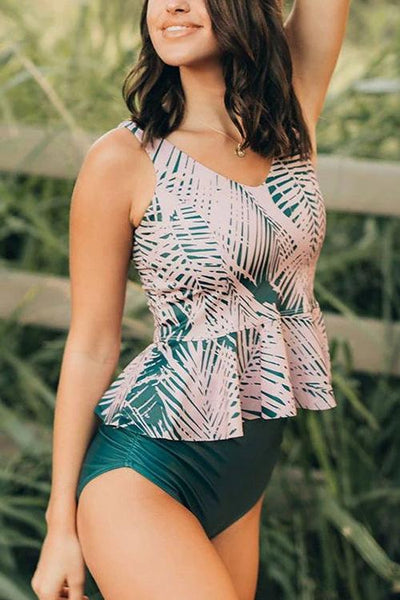 Leaf Peplum Swimwear Set - girlyrose.com
