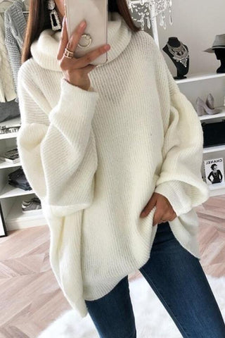Cowl Neck Loose Sweater - girlyrose.com