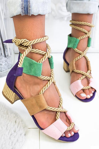 Rope Lace Up Color Block Sandals - girlyrose.com