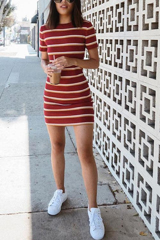 Stripe O Neck Short Sleeve Mini Dress - girlyrose.com