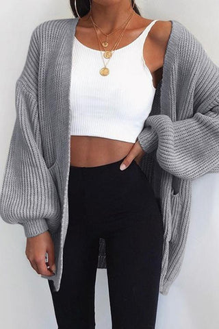 Puff Sleeve Bat Loose Cardigan - girlyrose.com