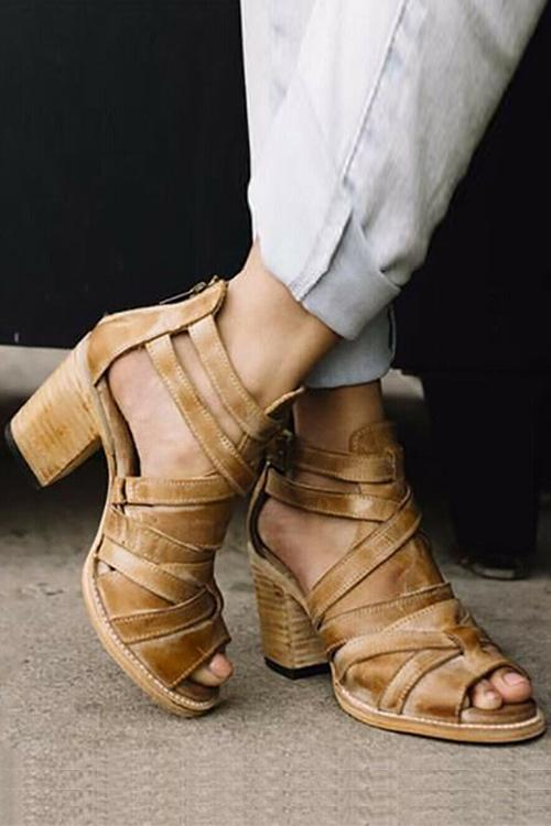 Cutout Zipper High Heel Sandals - girlyrose.com