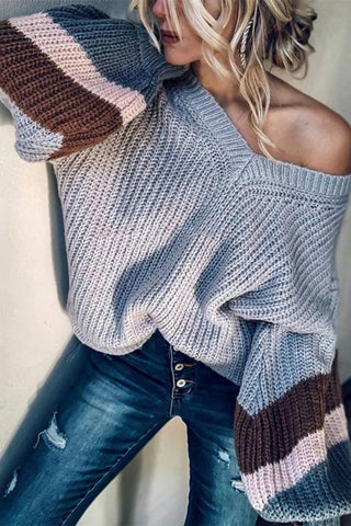 Stripe V Neck Puff Loose Sweater - girlyrose.com
