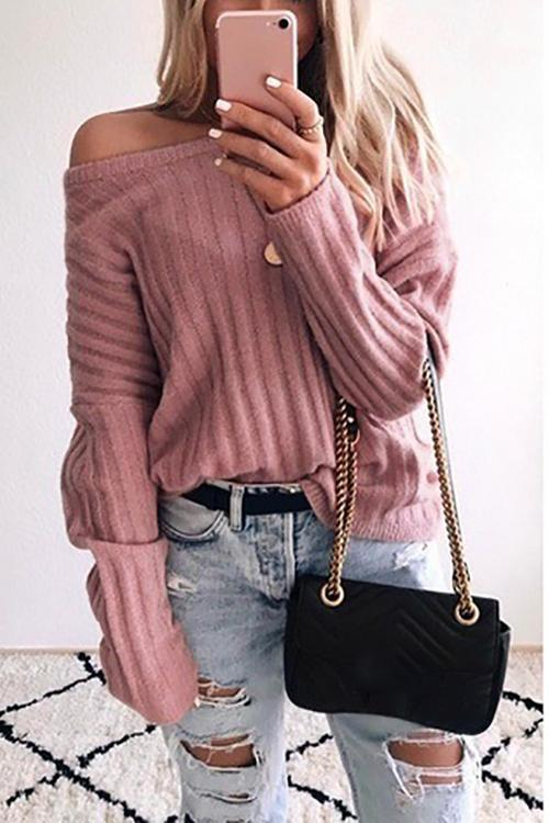 Dew Shoulder Long Sleeve Sweater - girlyrose.com