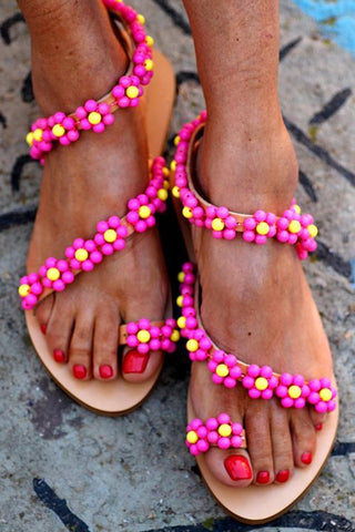 Beads Flower Flat Sandals - girlyrose.com