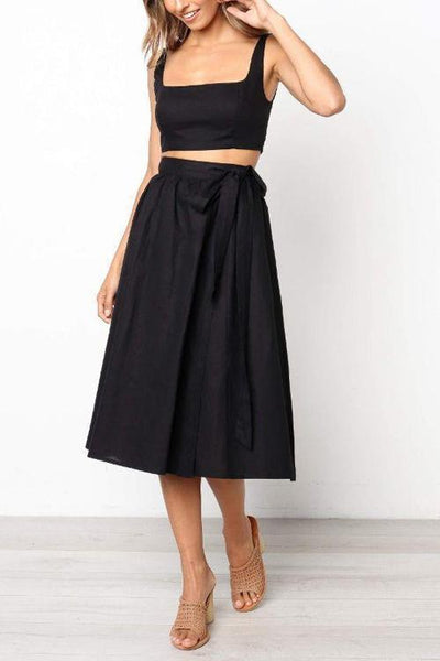 Sleeveless Lace Up Skirts Set - girlyrose.com