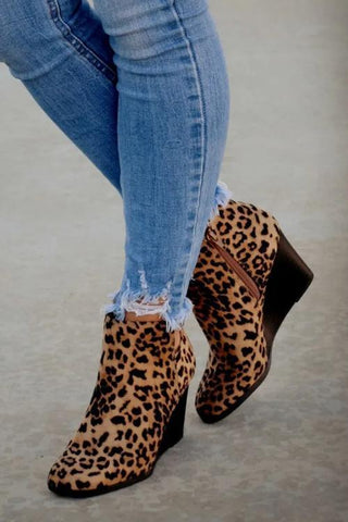 Side Slit Wedge Bootie - girlyrose.com