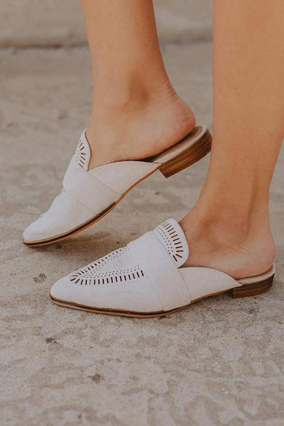 Hollow Pointed Toe Flat Mules - girlyrose.com
