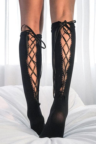 Cross Straps Hollow Mid Stocking - girlyrose.com