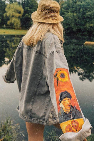 Vincent Van Gogh Embroidered Denim Jacket - girlyrose.com