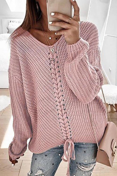 V Neck Lace Up Sweater - girlyrose.com