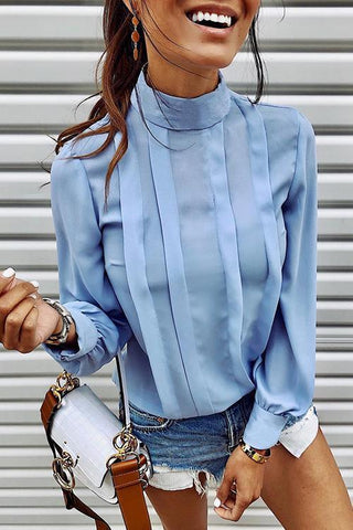High Collar Long Sleeve Shirt - girlyrose.com