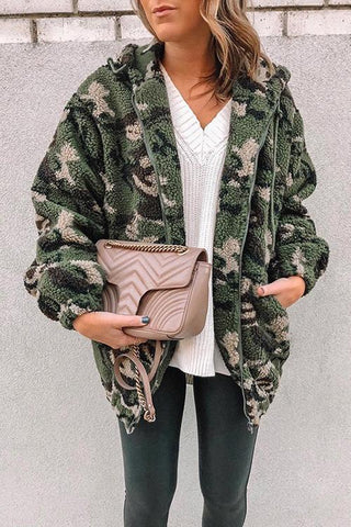 Camouflage Pockets Fuzzy Hoodie Coat - girlyrose.com