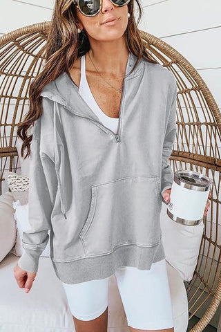 Pocket Drawstring Loose Hoodie - girlyrose.com