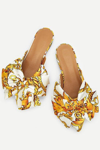 Wild Bow Pointed Flat Slippers - girlyrose.com