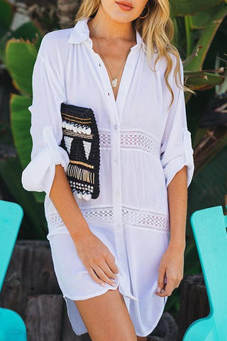 Hollow Button Cover Shirt Dress - girlyrose.com