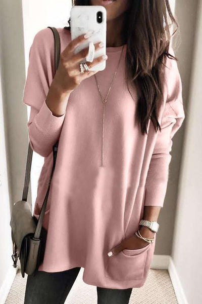 Pockets Long Sleeve Loose T Shirt - girlyrose.com